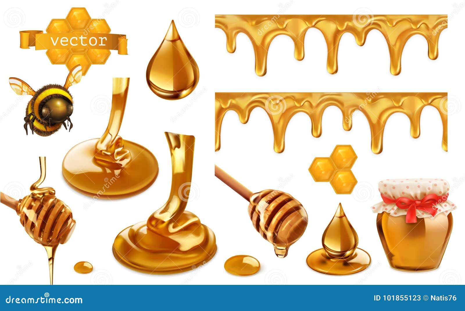 Honing, bij, honingraat, daling en naadloos patroon Vastgestelde vectorelementen