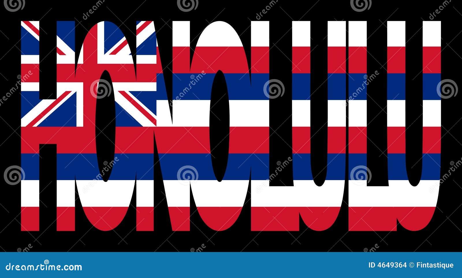 Honolulu com bandeira de Havaí