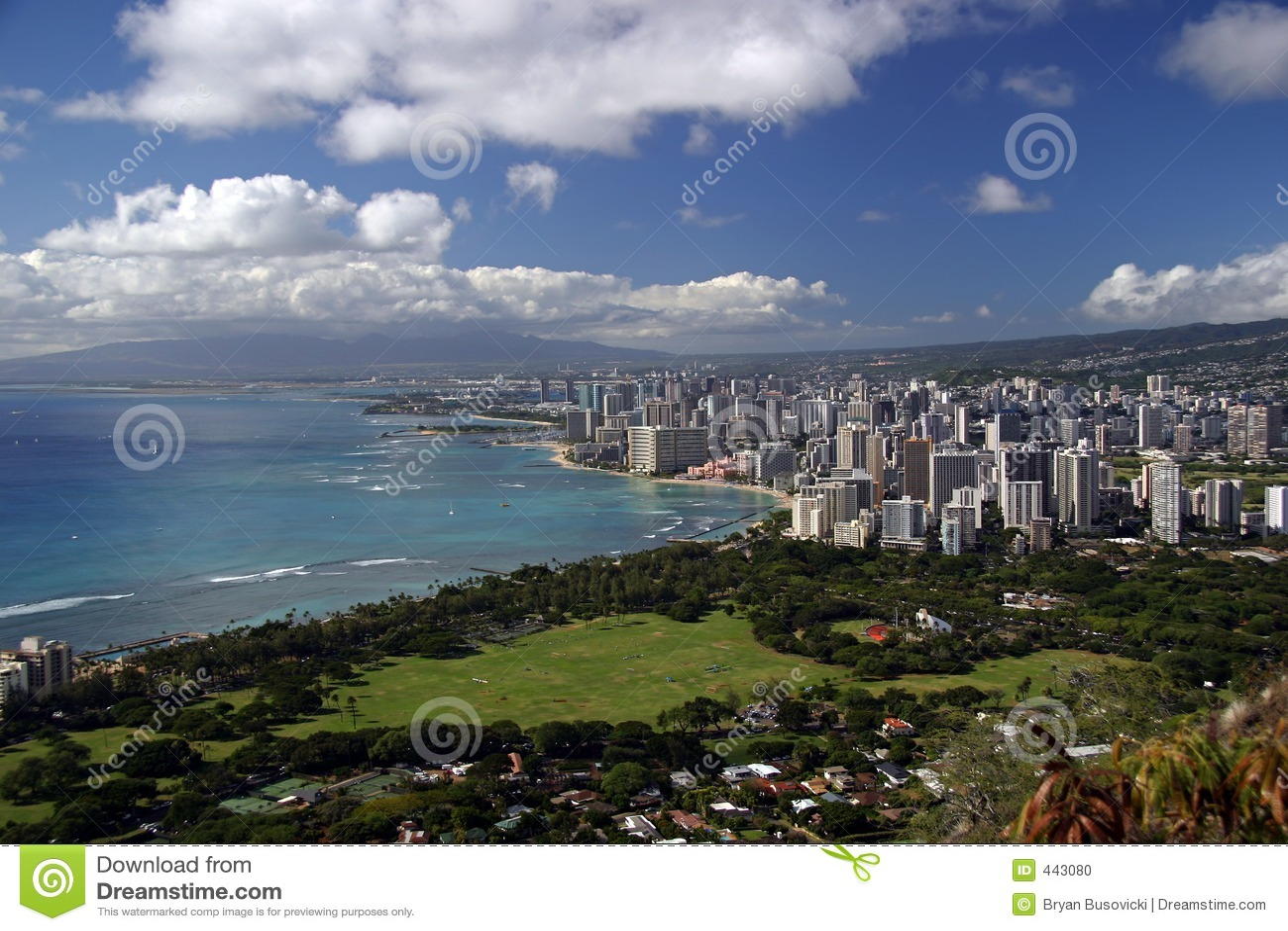 Honolulu Hawaii Skyline Stock Photo Image 443080