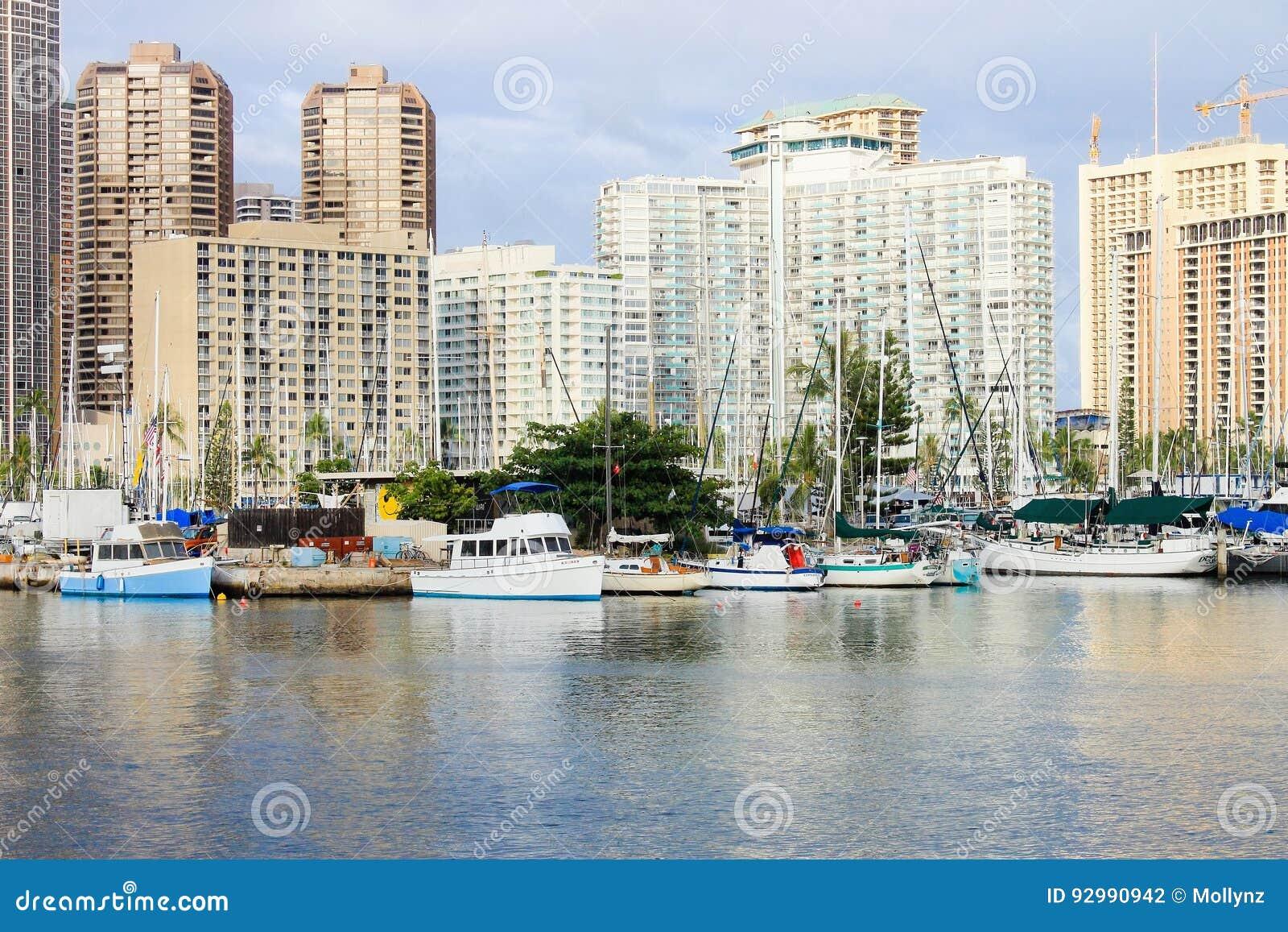 Honolulu, Hawaii, USA - May 30, 2016: Yachts docked at Ala Wai Boat Harbor