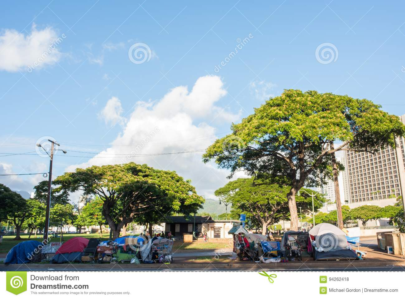 Homeless in Hawaii editorial stock photo  Image of street