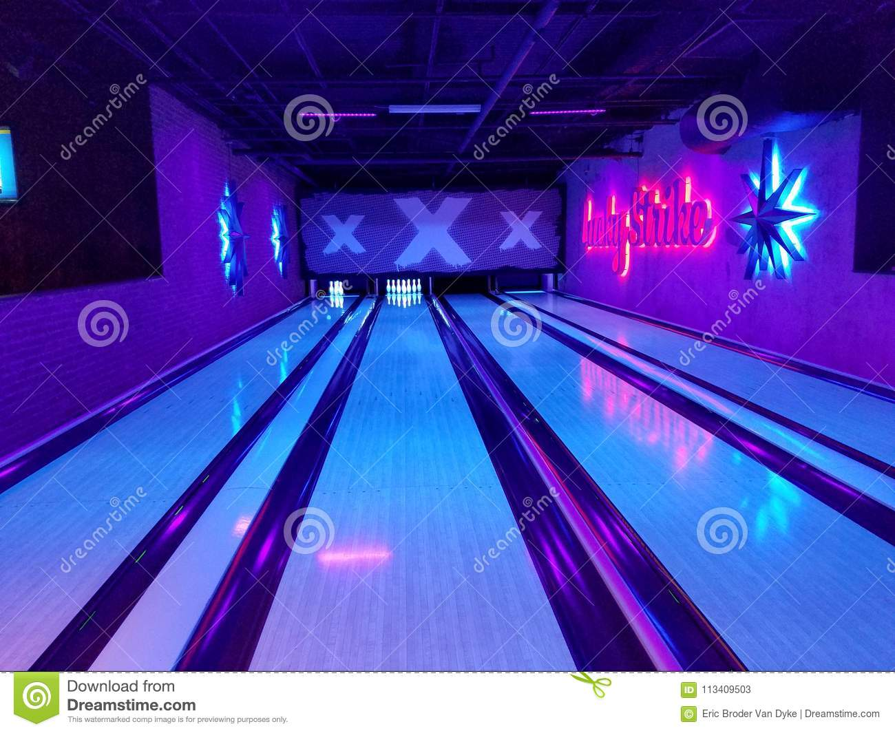 Lucky Strike Bowling Alley editorial stock photo  Image of