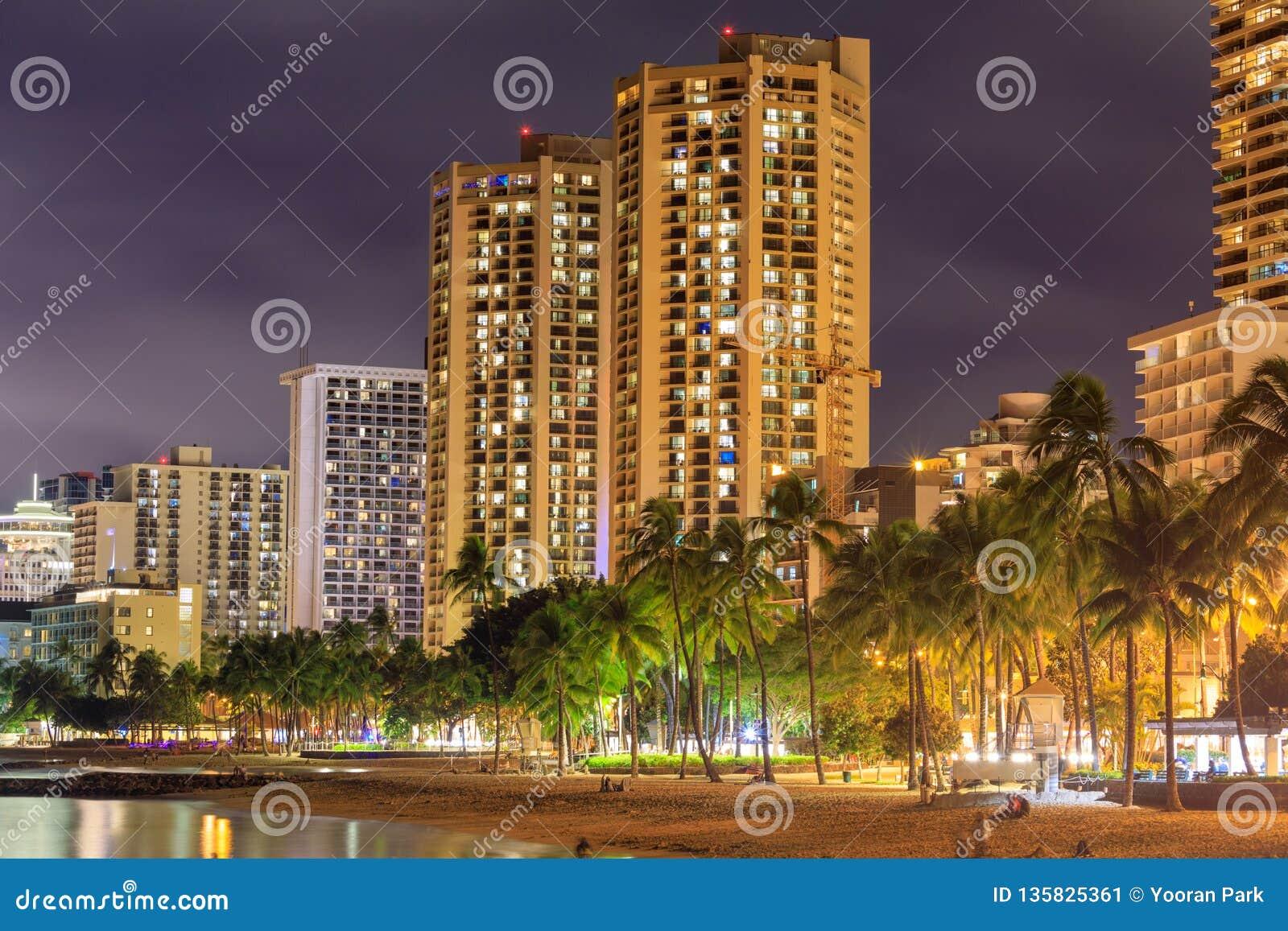 Honolulu Skyline With Waikiki Beach Hotels Building At
