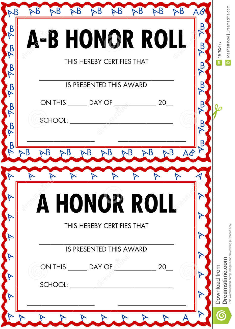 Honor Roll Certificates Royalty Free Stock Photos - Image: 18782478