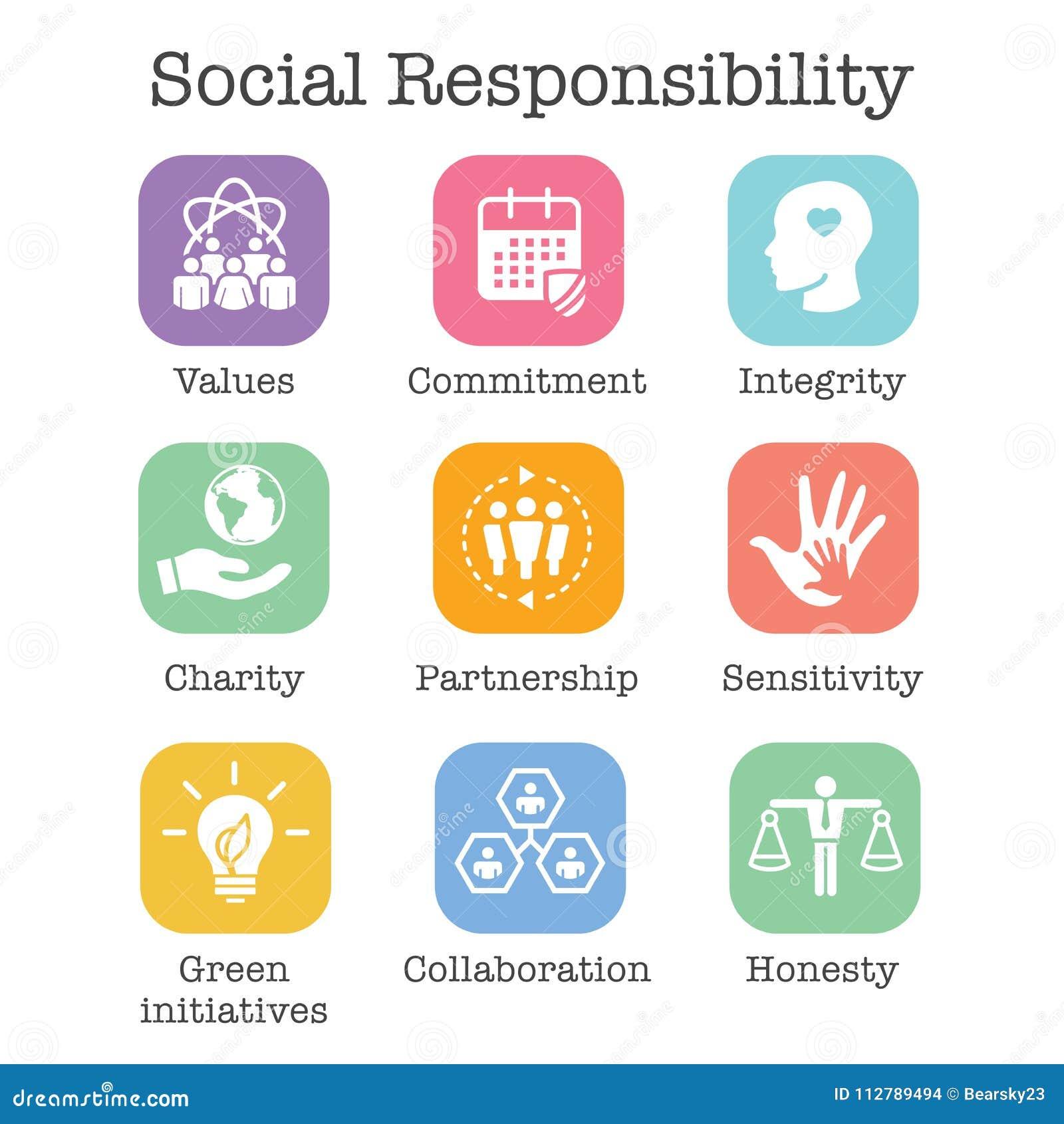 Honradez determinada, integridad, y cuesta del icono sólido w de la responsabilidad social