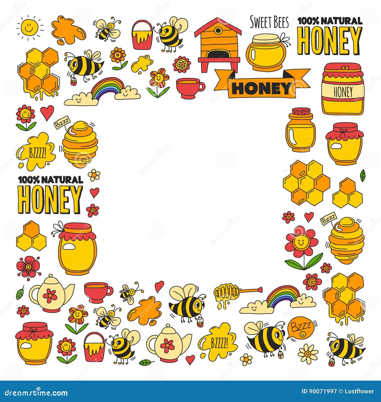 Honungmarknad, basar, ganska klotterbilder för honung av bin, blommor, krus, honungskaka, bikupa, fläck, kaggen med bokstäver