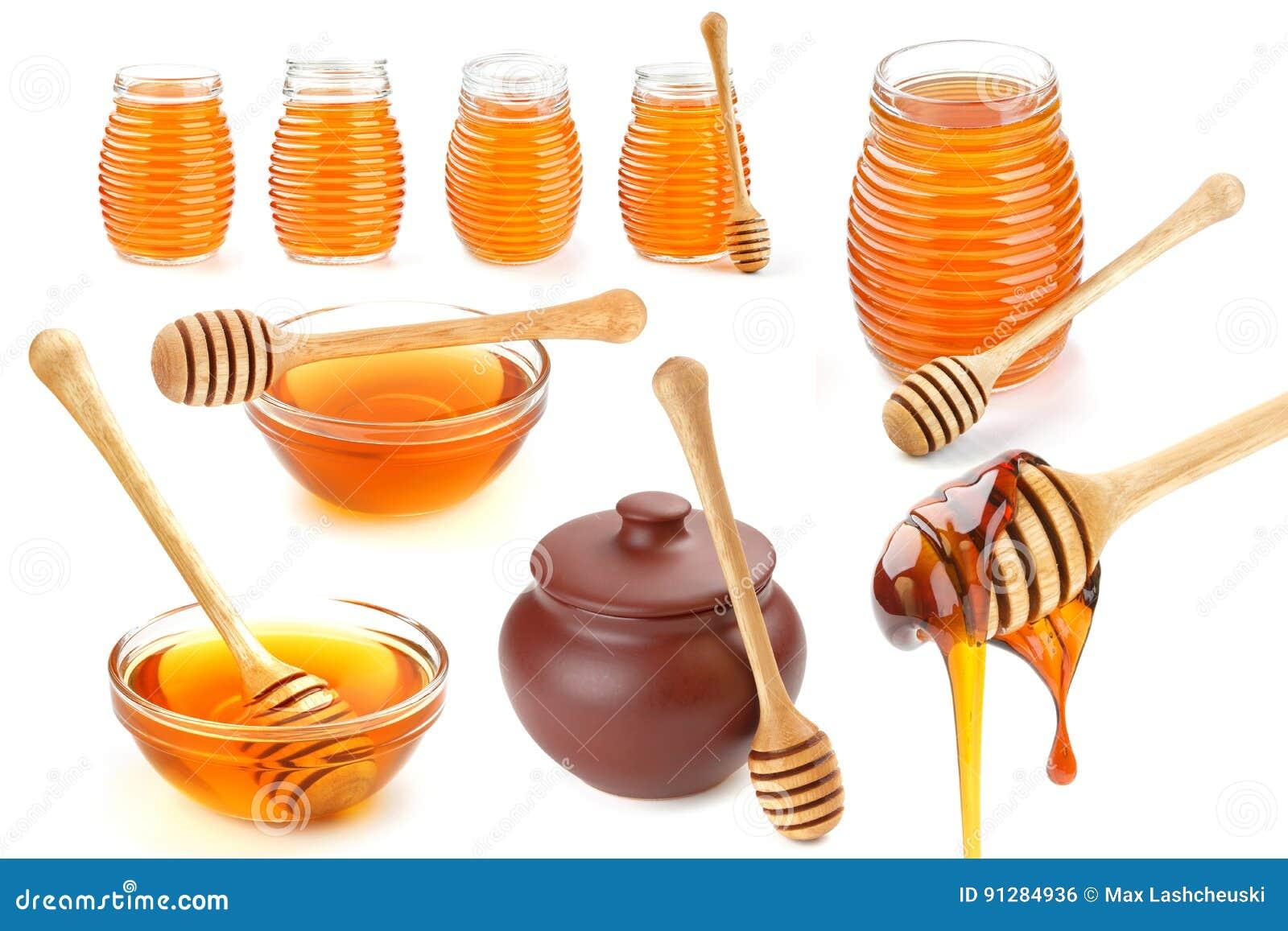 Honungsamling som isoleras på vit bakgrund
