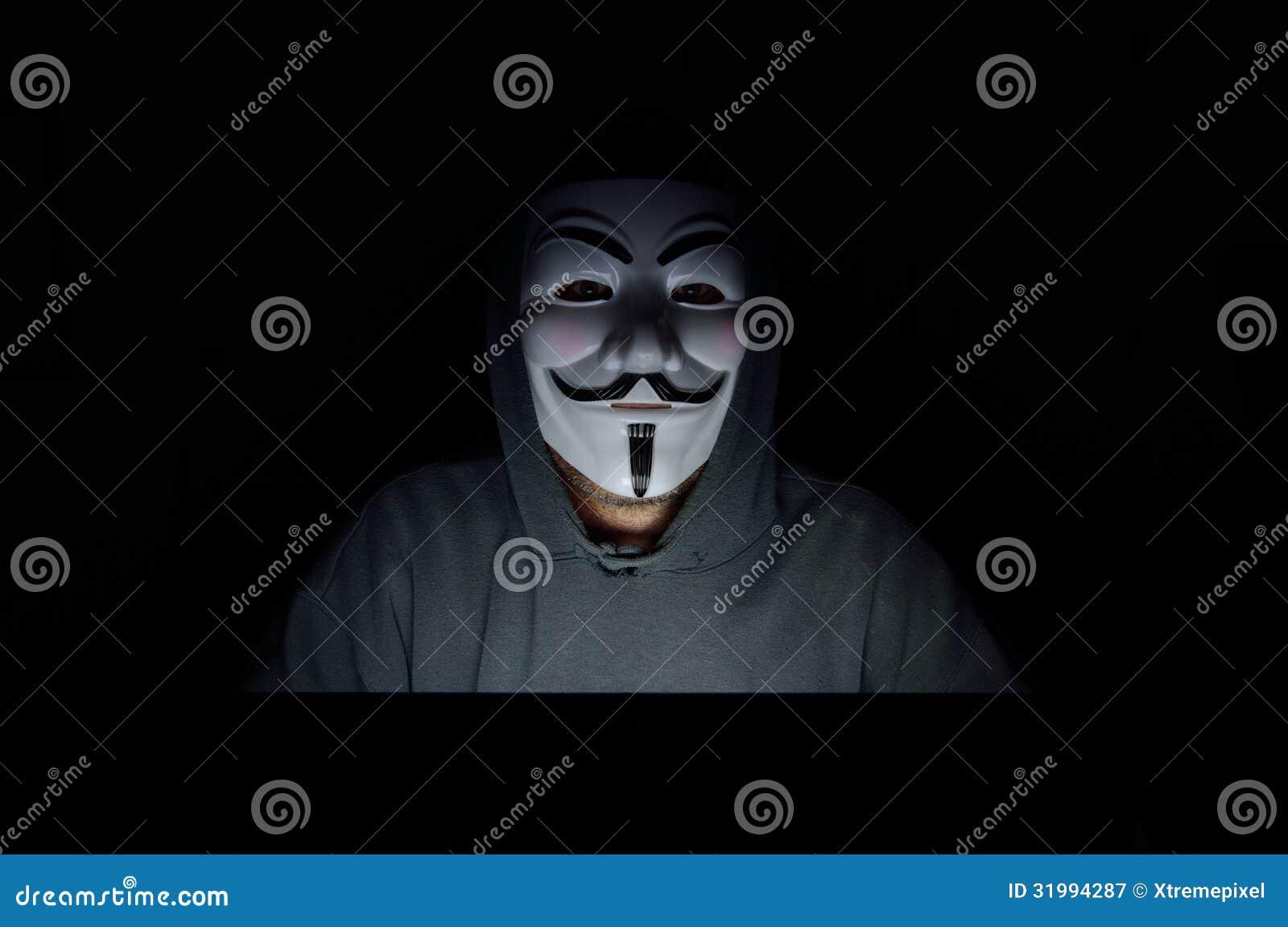 V For Vendetta Mask Vector A hooded computer hack...