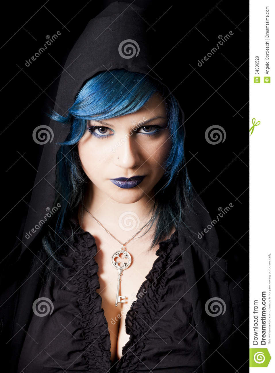 Hooded Dark Woman With Blue Hair And Lipstick Key Pendant Stock