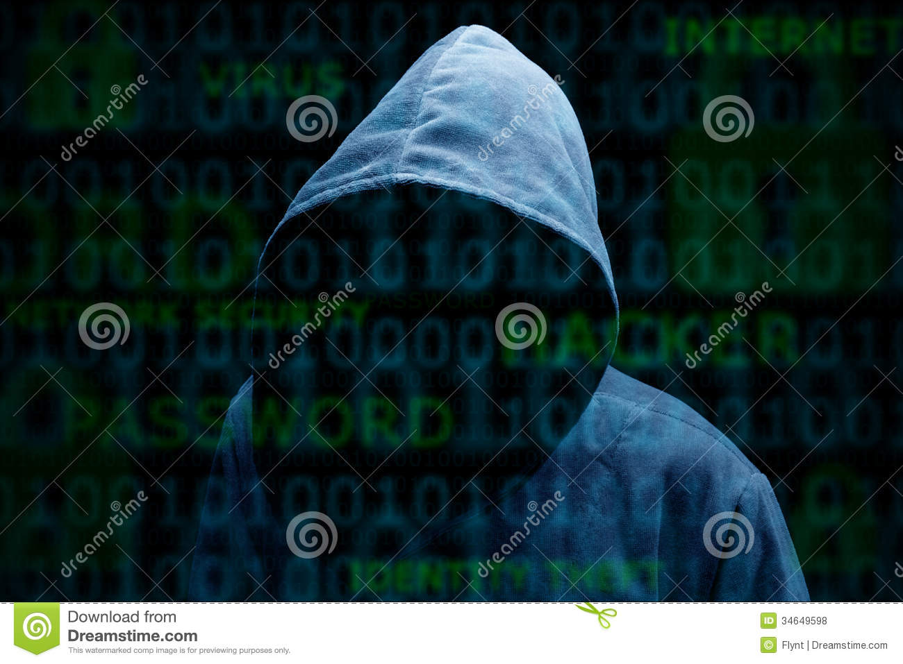 Hooded Silhouette Of A Hacker Stock Photo - Image of