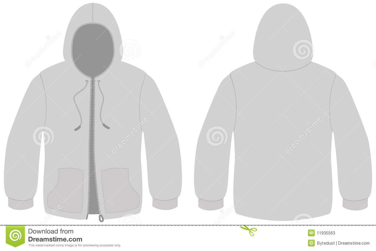template vector illustration of a blank hooded sweater with zipper