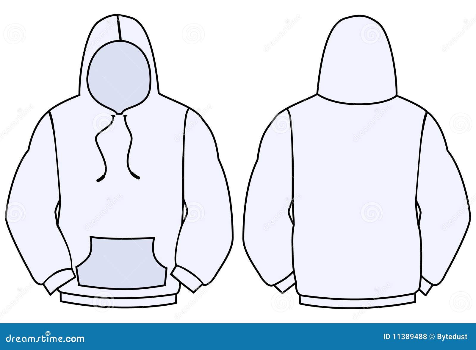 Hoodievektorschablone vektor abbildung. Illustration von rückseite ...