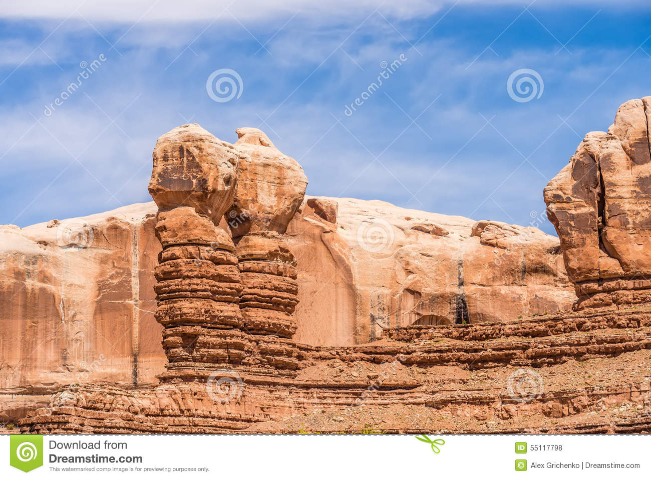 Hoodoo Rock Formations At Park Mountains Stock Photo