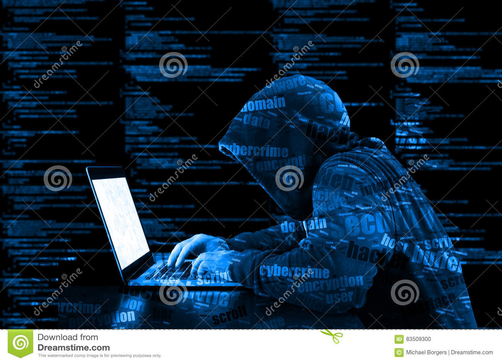 Hoody黑客cybersecurity蓝色计算机编码信息securi