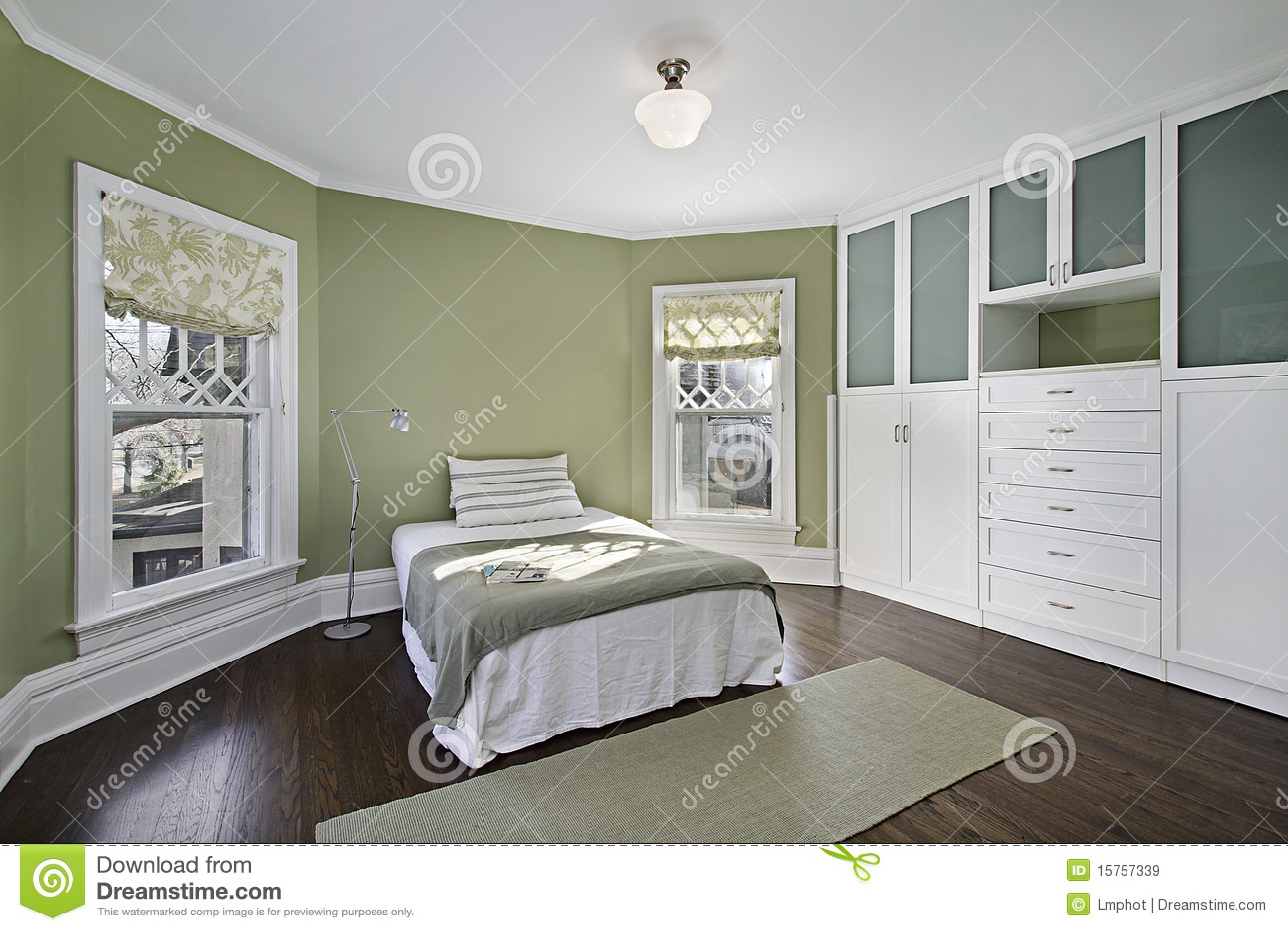 Hoofd slaapkamer met groene muren stock foto   afbeelding: 12524000