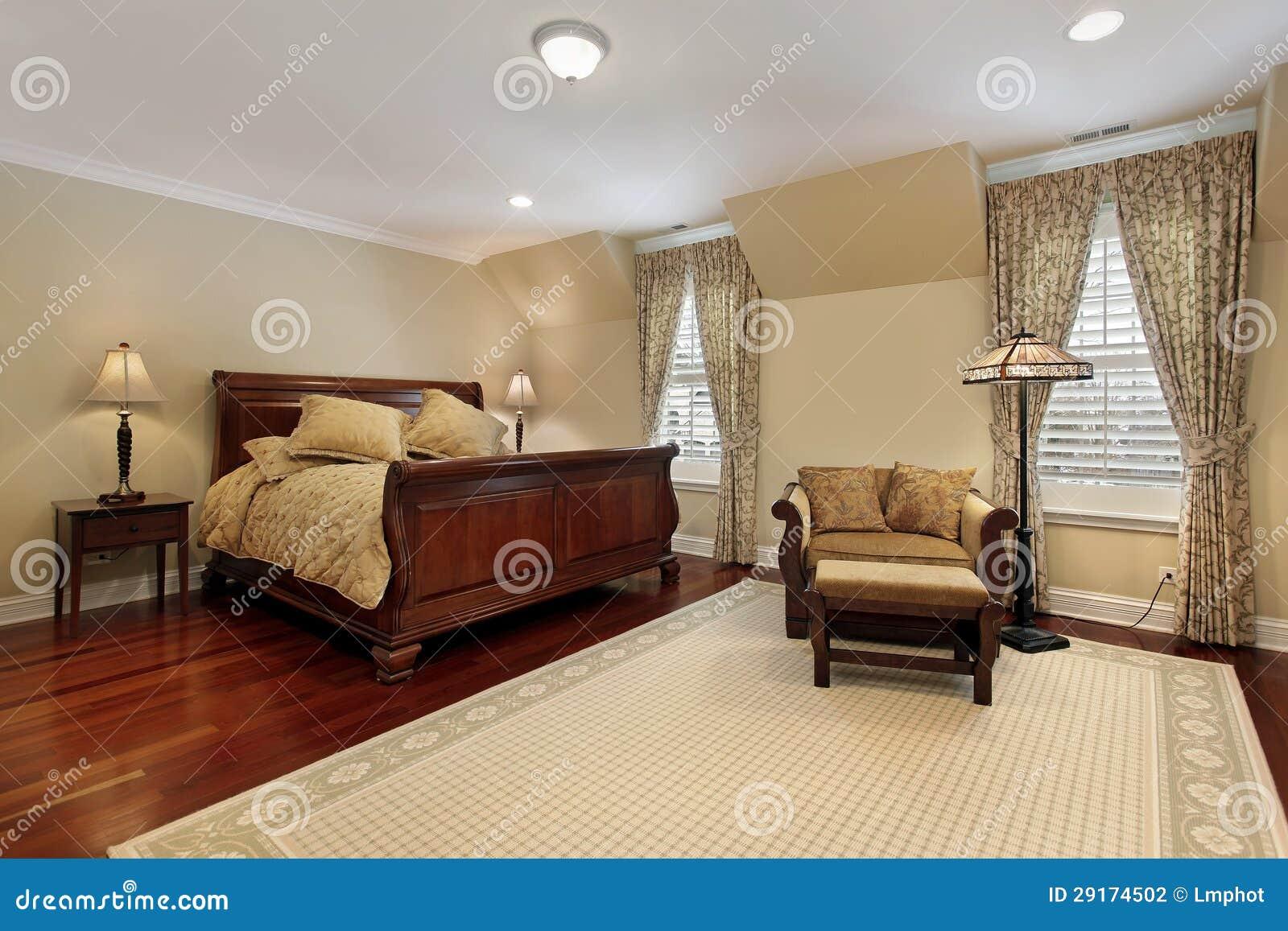Hoofd slaapkamer met kersen houten bevloering stock fotografie afbeelding 29174502 - Slaapkamer houten ...