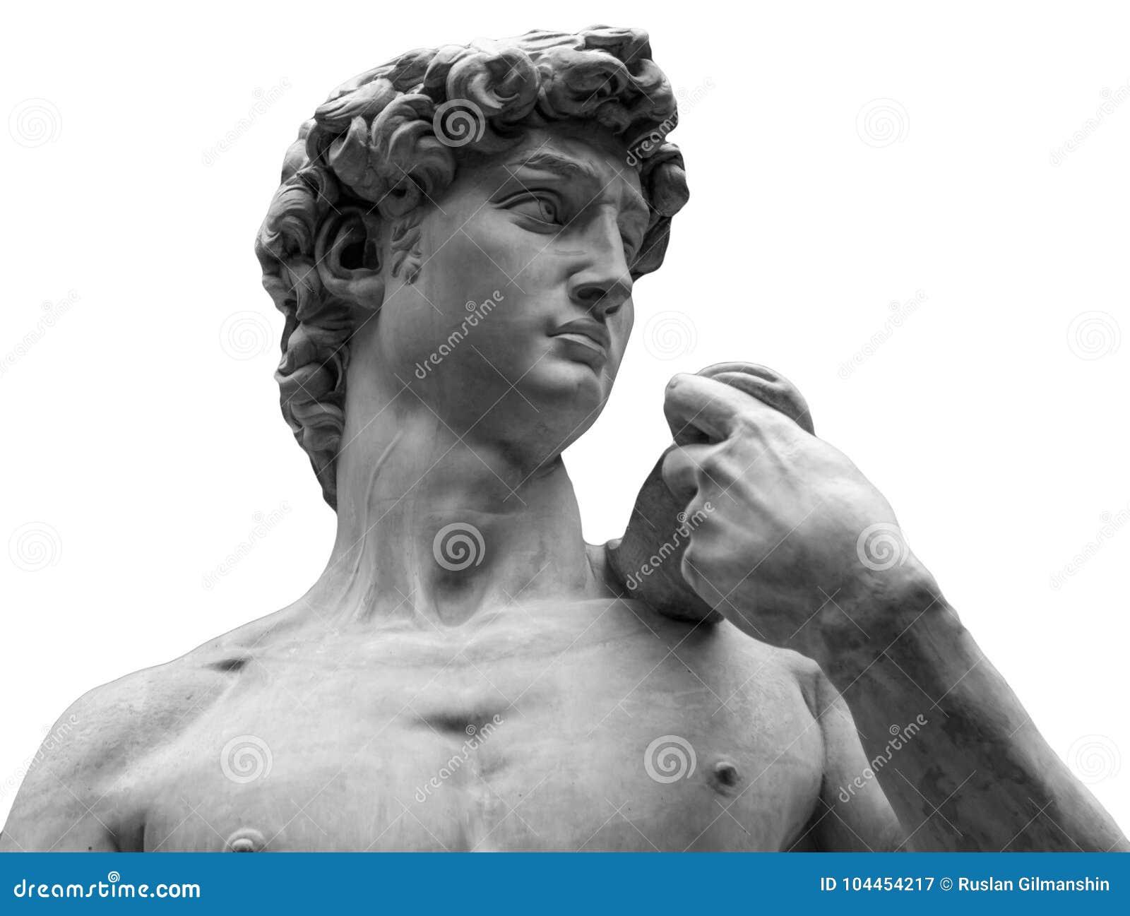 Hoofd van een beroemd die standbeeld door Michelangelo - David van Florence, op wit wordt geïsoleerd