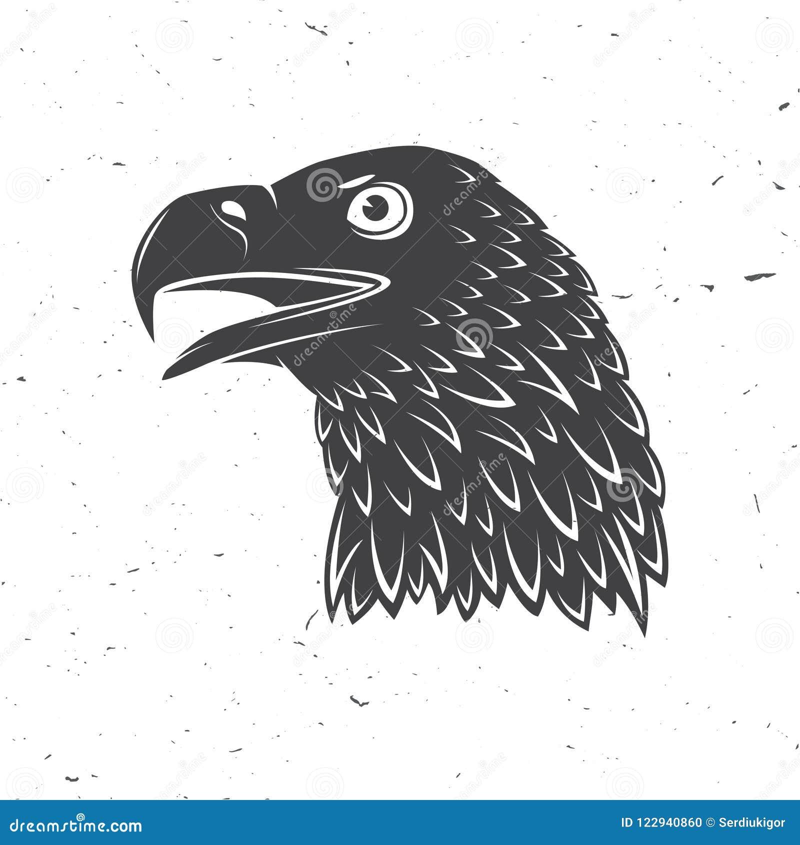 Hoofd van gouden adelaar Vector illustratie Vogelsymbool van krachtige, trotse, vrijheid en onafhankelijkheid