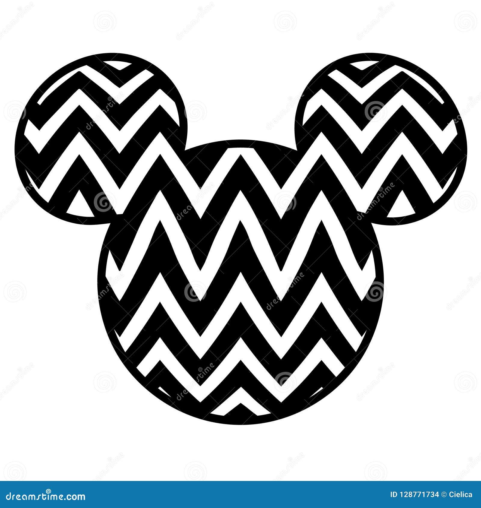 Hoofd vector het beeld zwart-wit scherp dossier van Mickey Mouse
