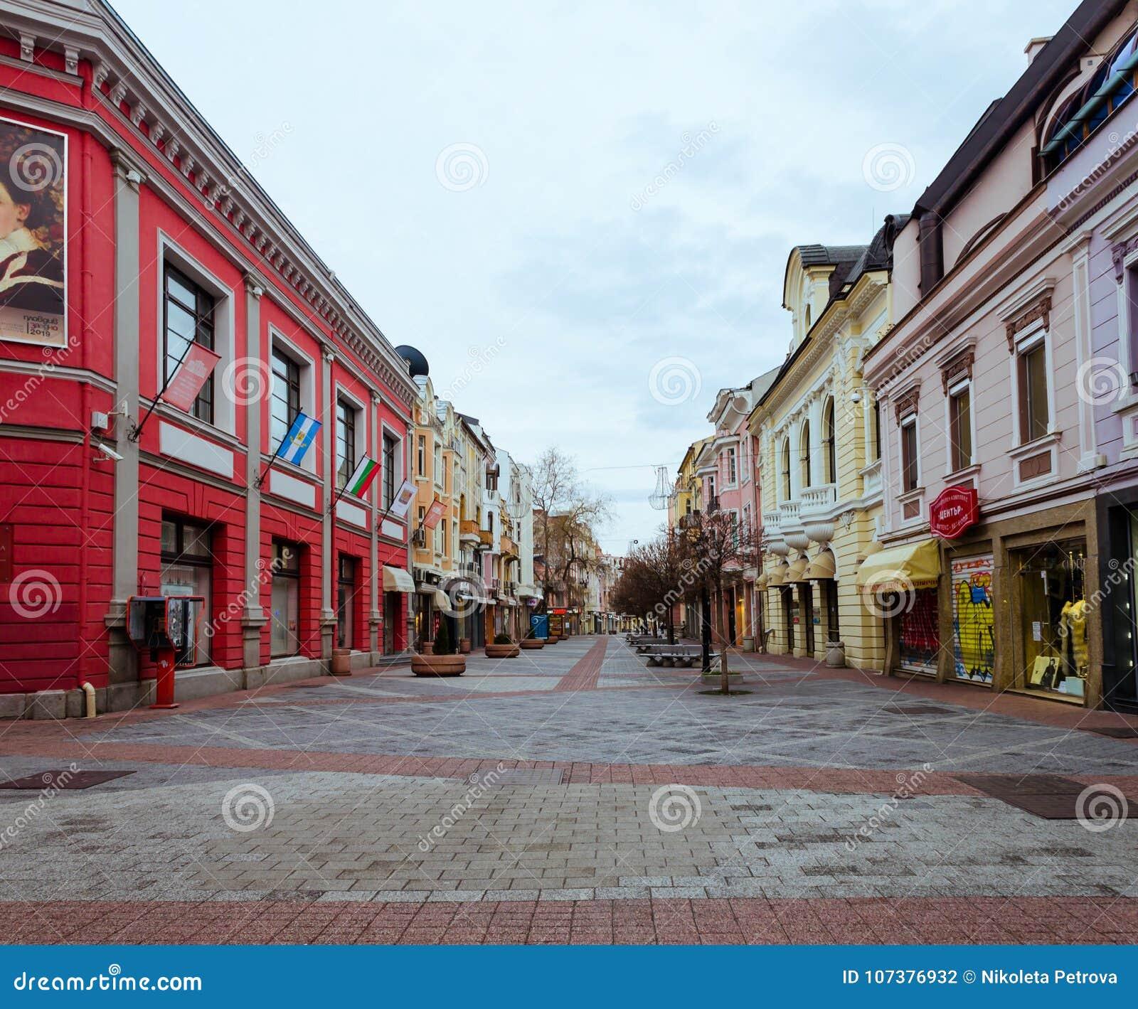 Hoofd voetgebied in het centrum van Plovdiv-stad in Bulgarije - geen mensen