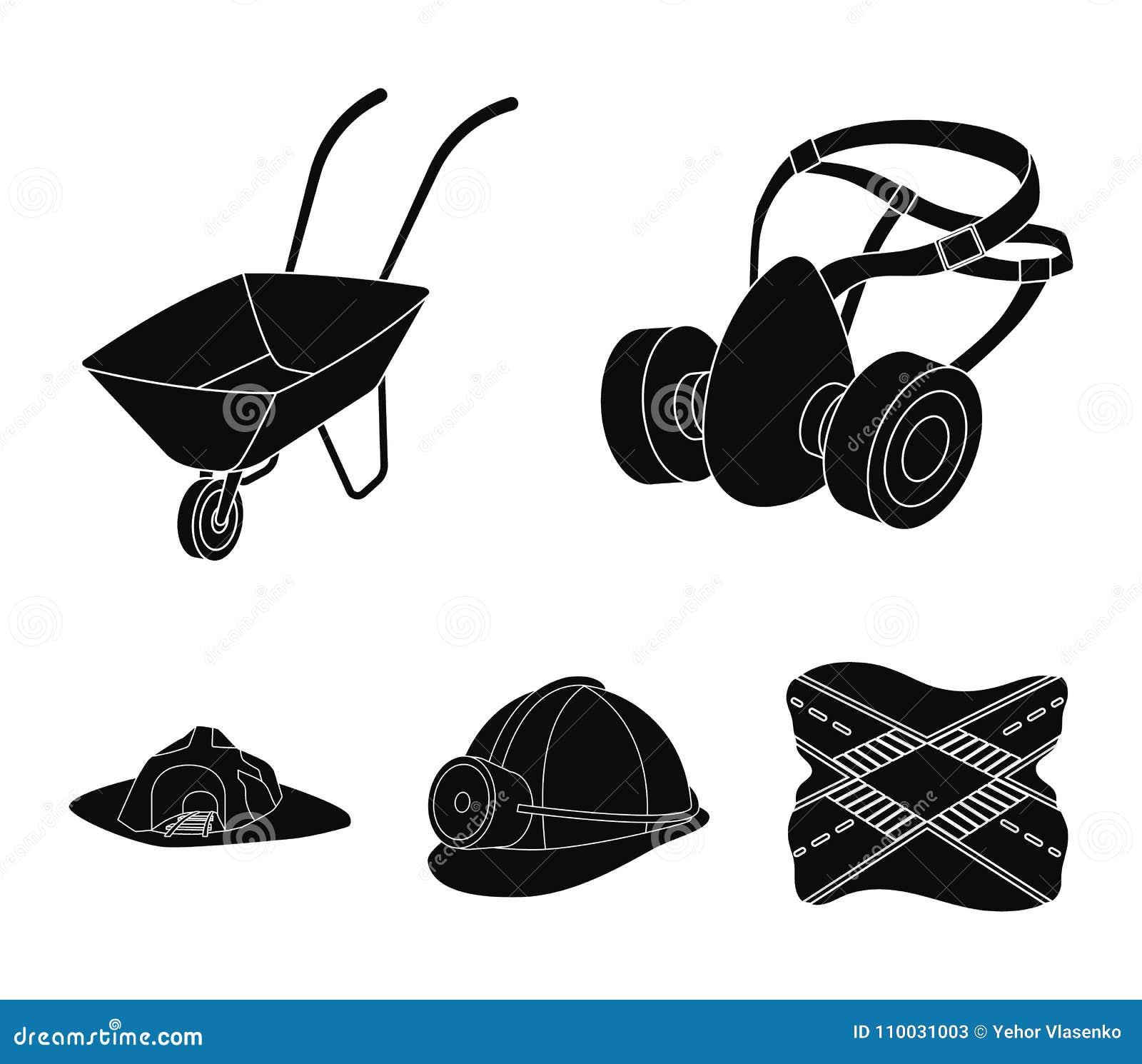 Hoofdtelefoons en raspirator, kruiwagen, helm met een lantaarn, de ingang aan de mijn Mijnbouw vastgestelde inzameling