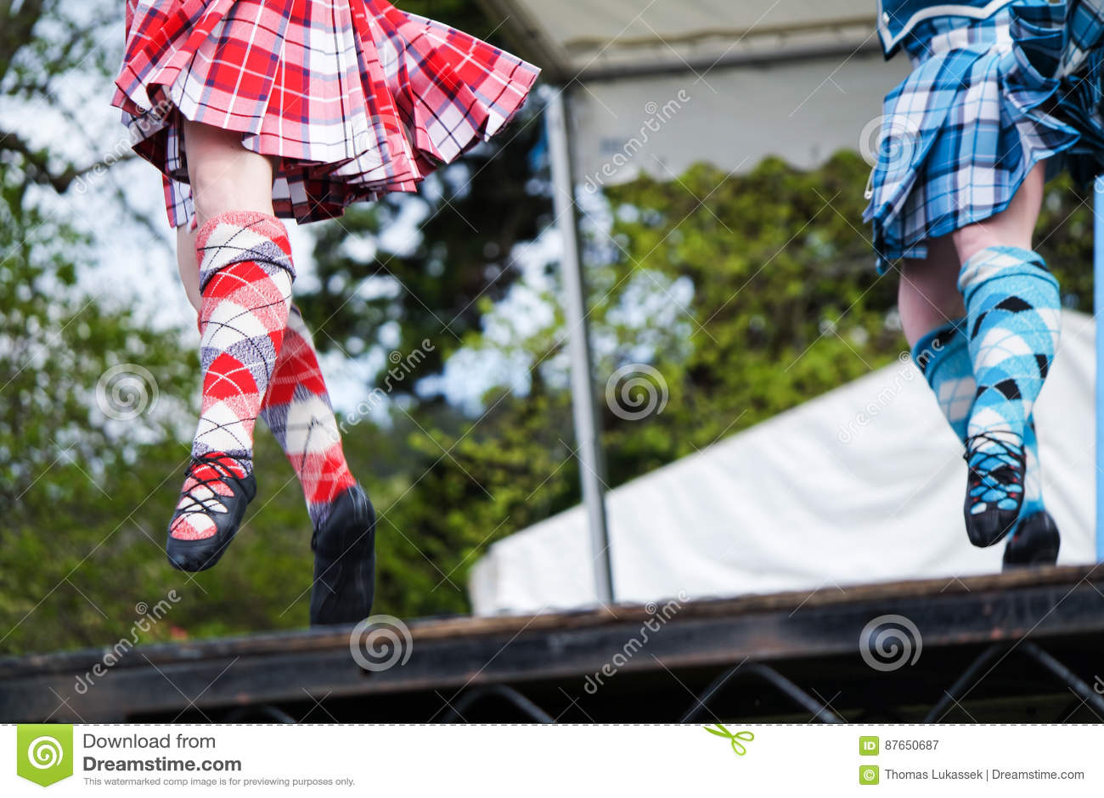 Hooglanddanser bij hooglandspelen in Schotland