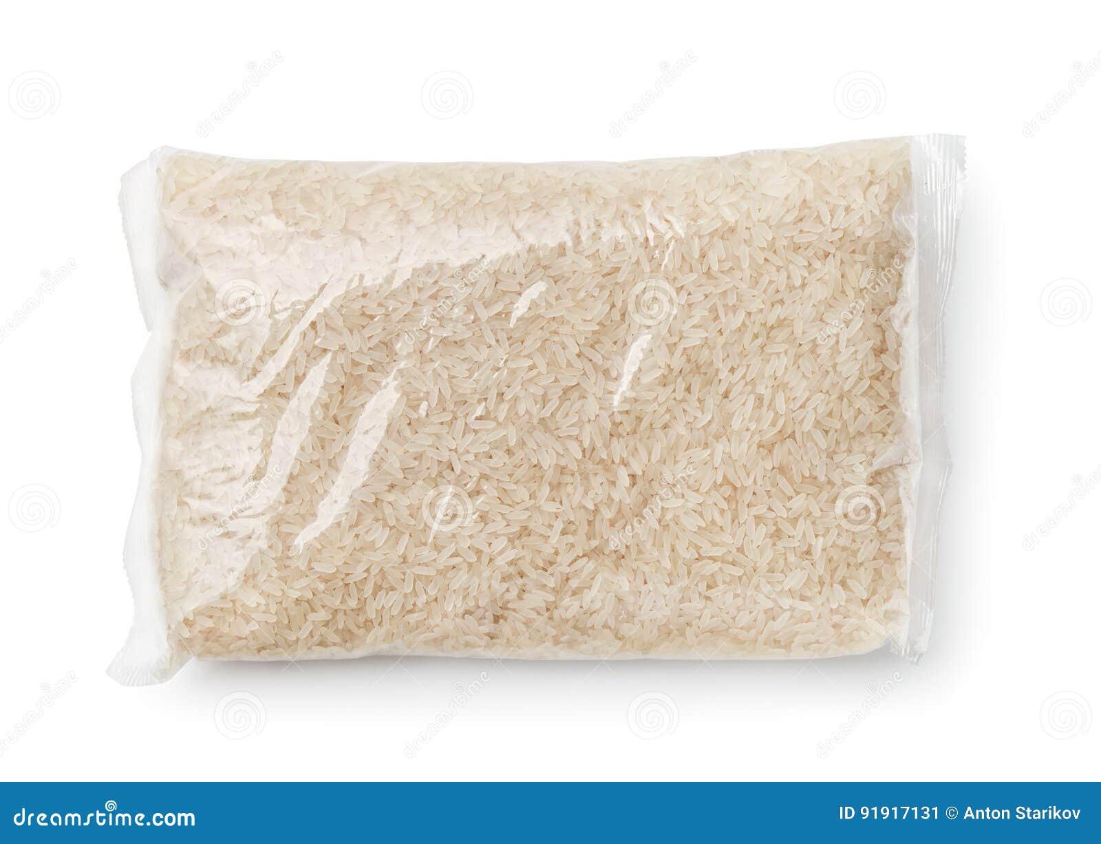 Hoogste die mening van rijst in plastic zak wordt ingepakt