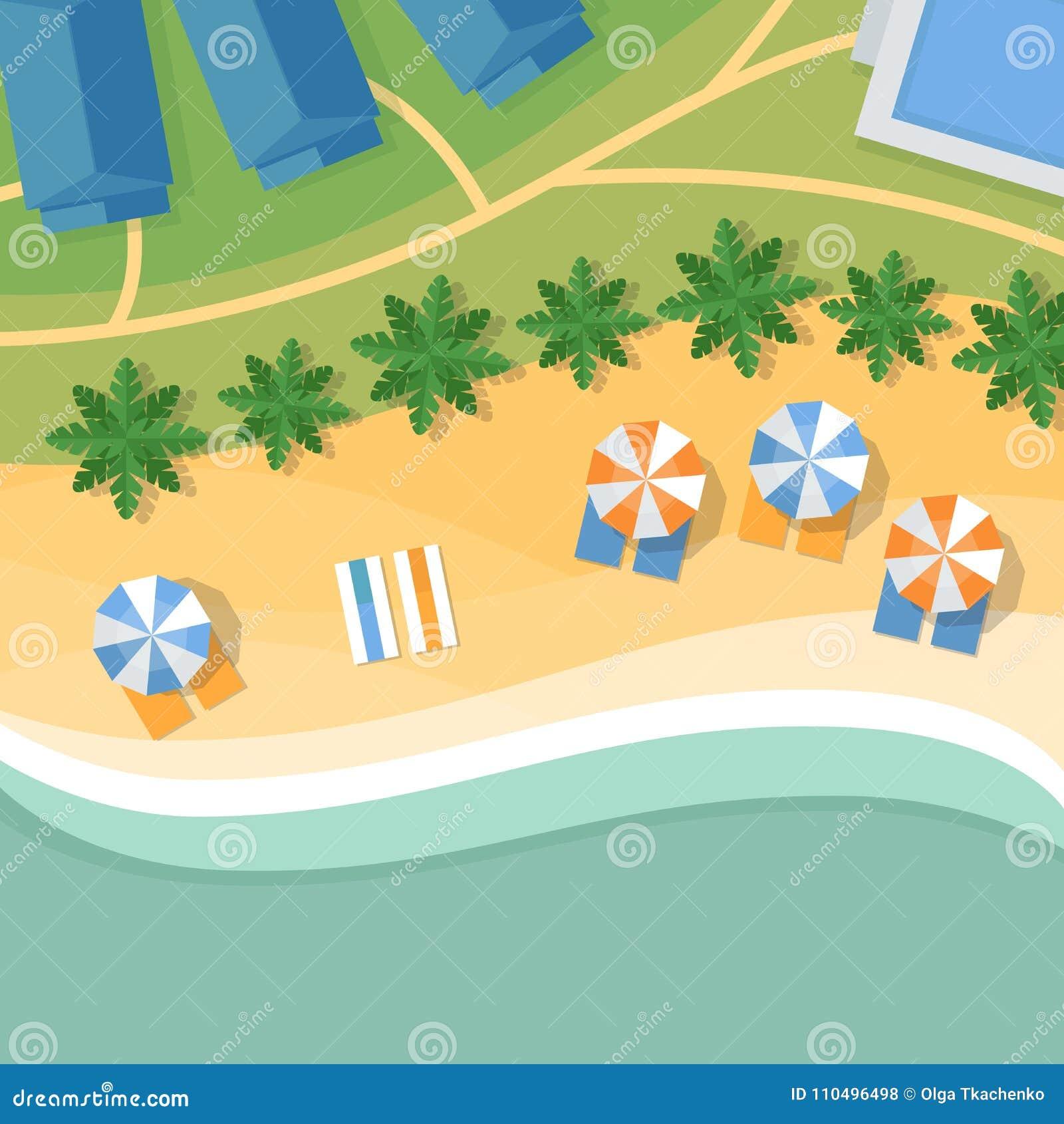 Hoogste mening van een tropisch strand Palmen, paraplu s en zitkamer c