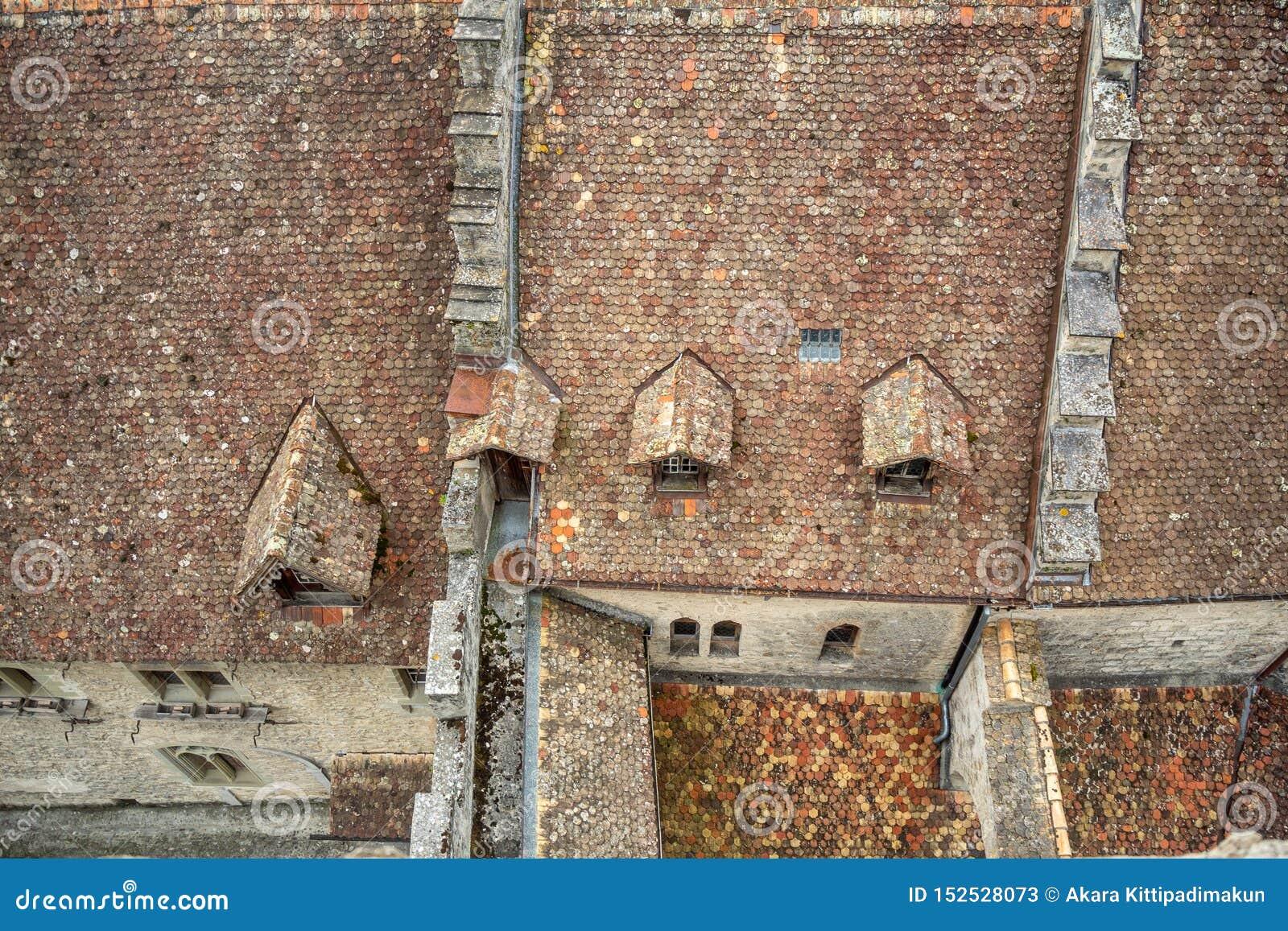 Hoogste mening van rood tegelsdak van chateau DE chillon het mooie kasteel in Zwitserland