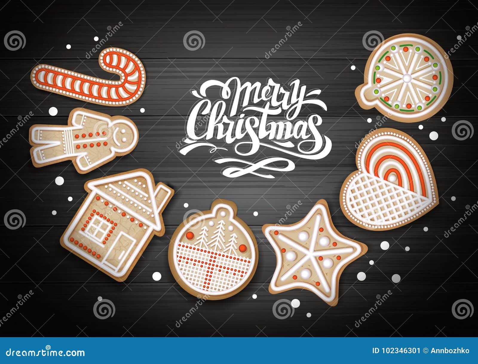 Hoogste mening van Vrolijk Kerstmisconceptontwerp Vakantiekoekjes op houten achtergrond