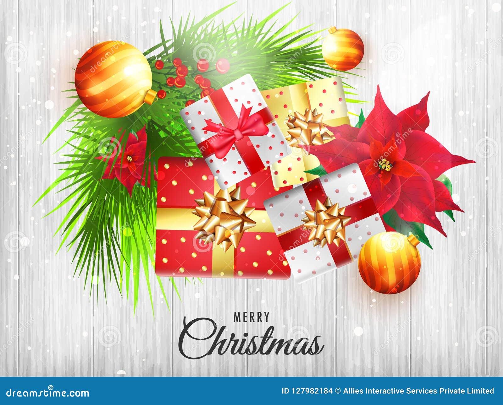 Hoogste meningsillustratie van Kerstmiselementen op witte houten teksten