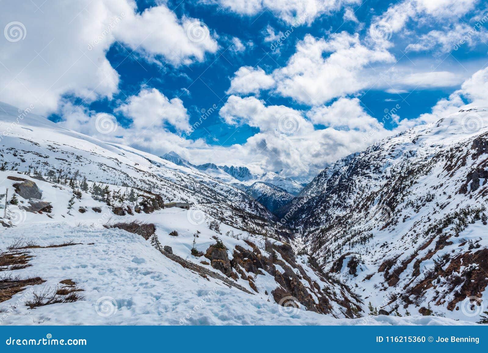 Hoogte omhoog in de bergen