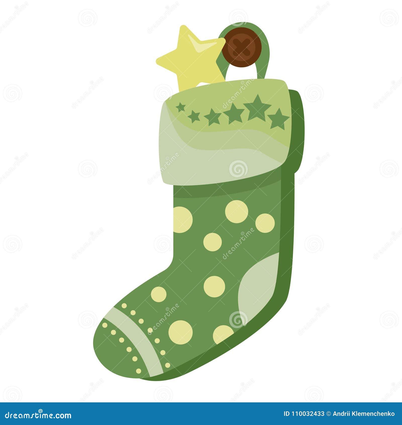Hoogtepunt van de Kerstmis het groene die sok van suikergoed, koekjes en giften, op een witte achtergrond worden geïsoleerd Vecto
