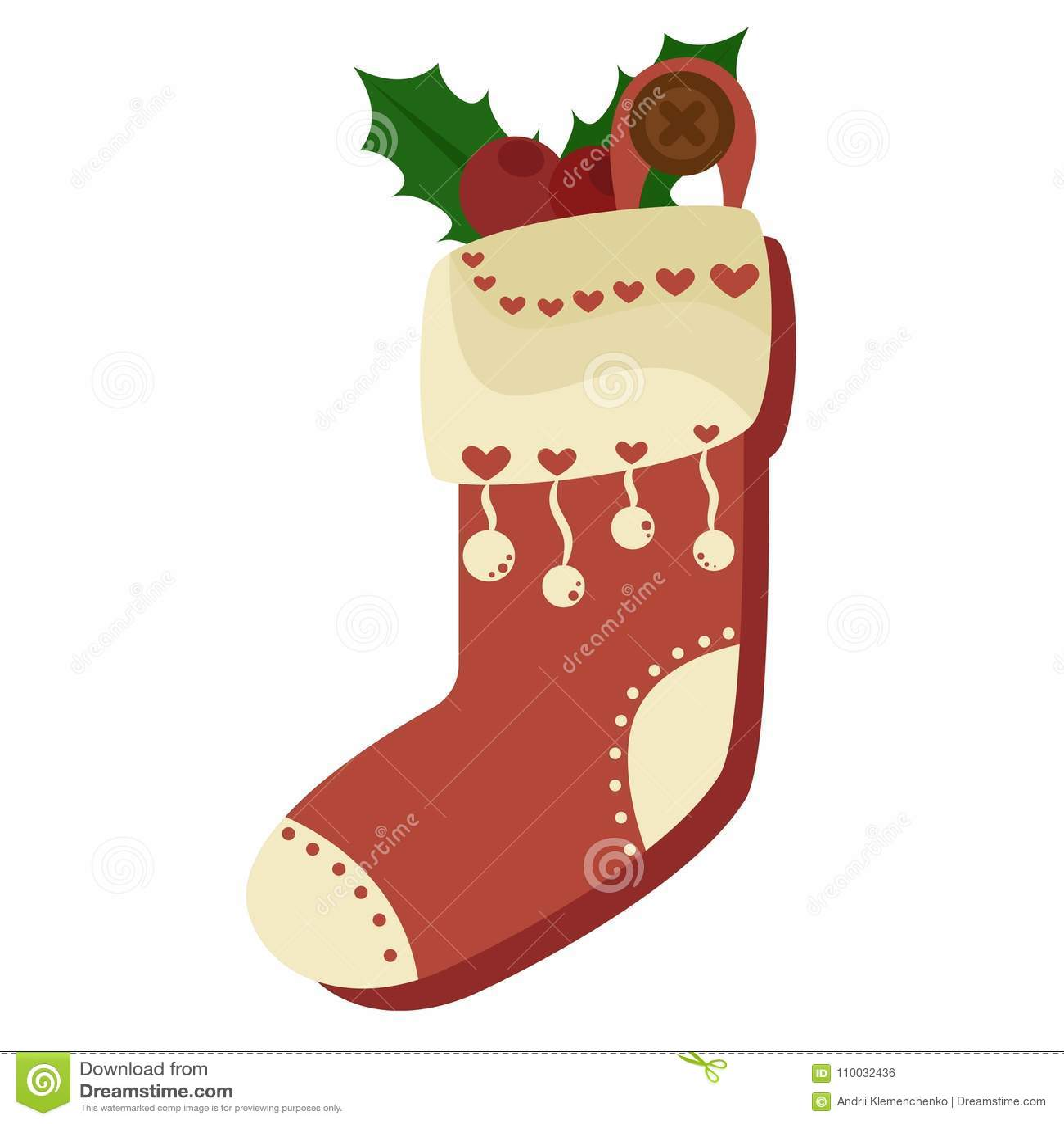Hoogtepunt van de Kerstmis het rode die sok van suikergoed, koekjes en giften, op een witte achtergrond worden geïsoleerd Vector