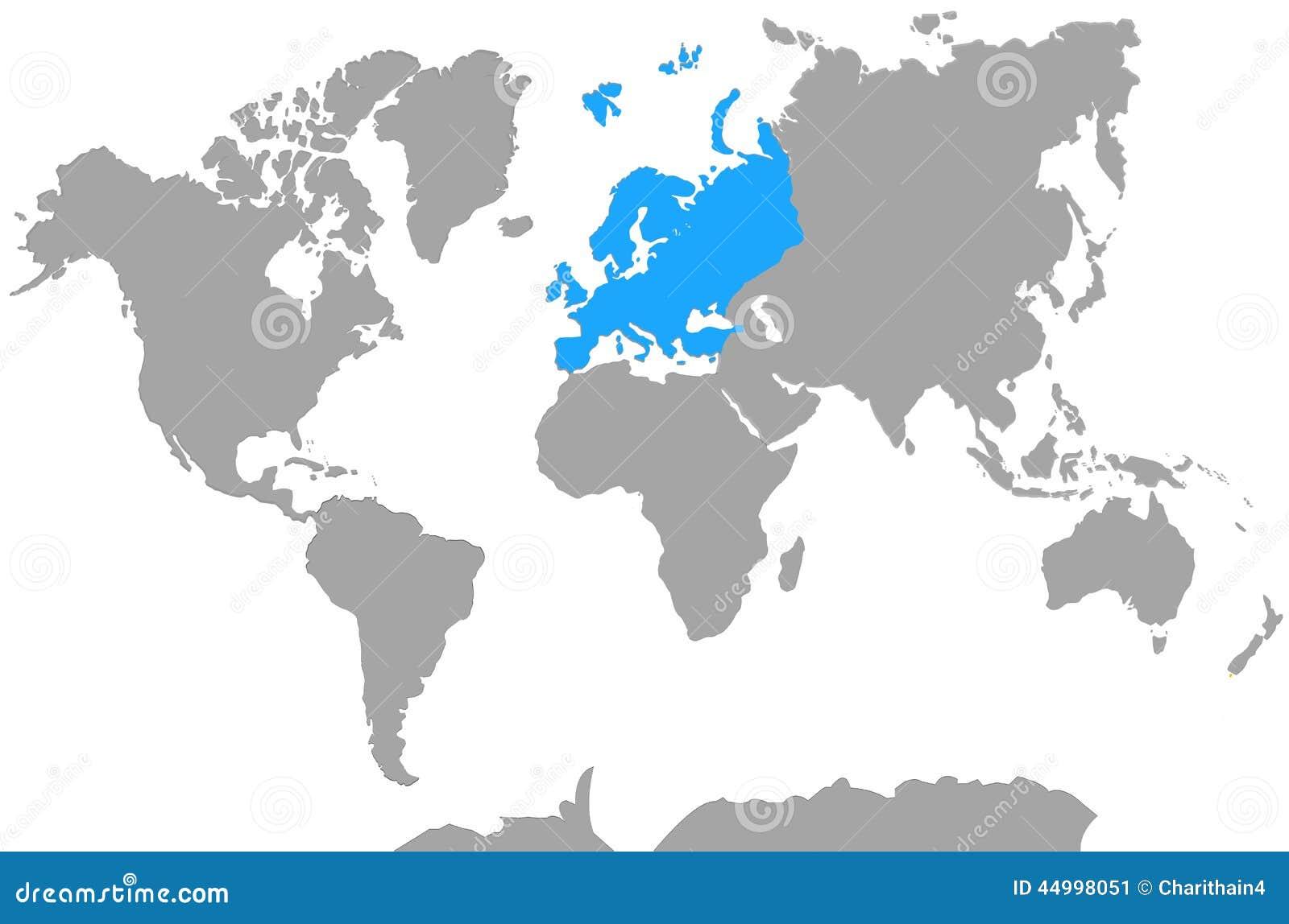 Hoogtepunt van Europa van de Kaart van de Continentenwereld