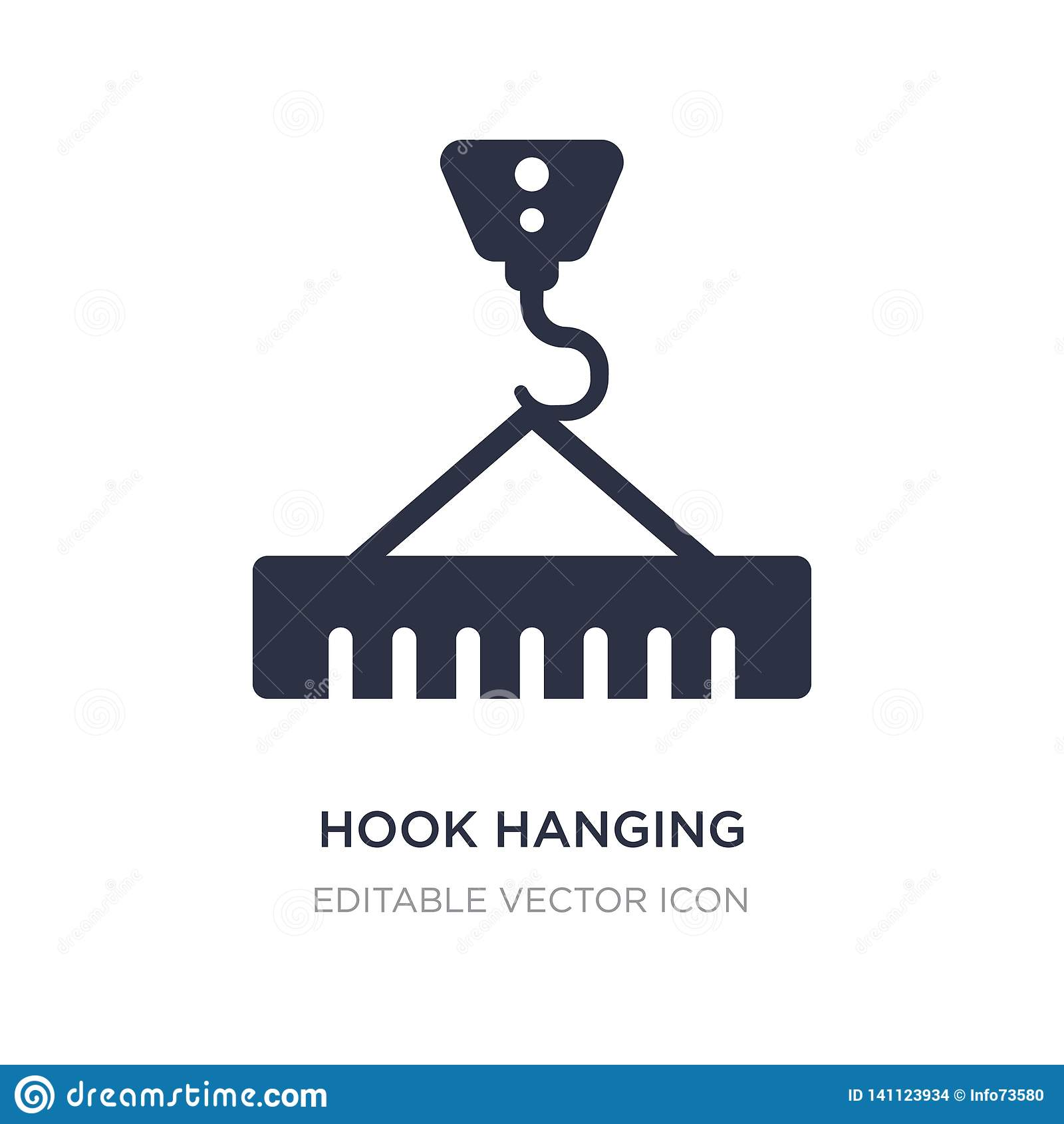 Hook hanging material icon on white background. Simple element illustration from Buildings concept