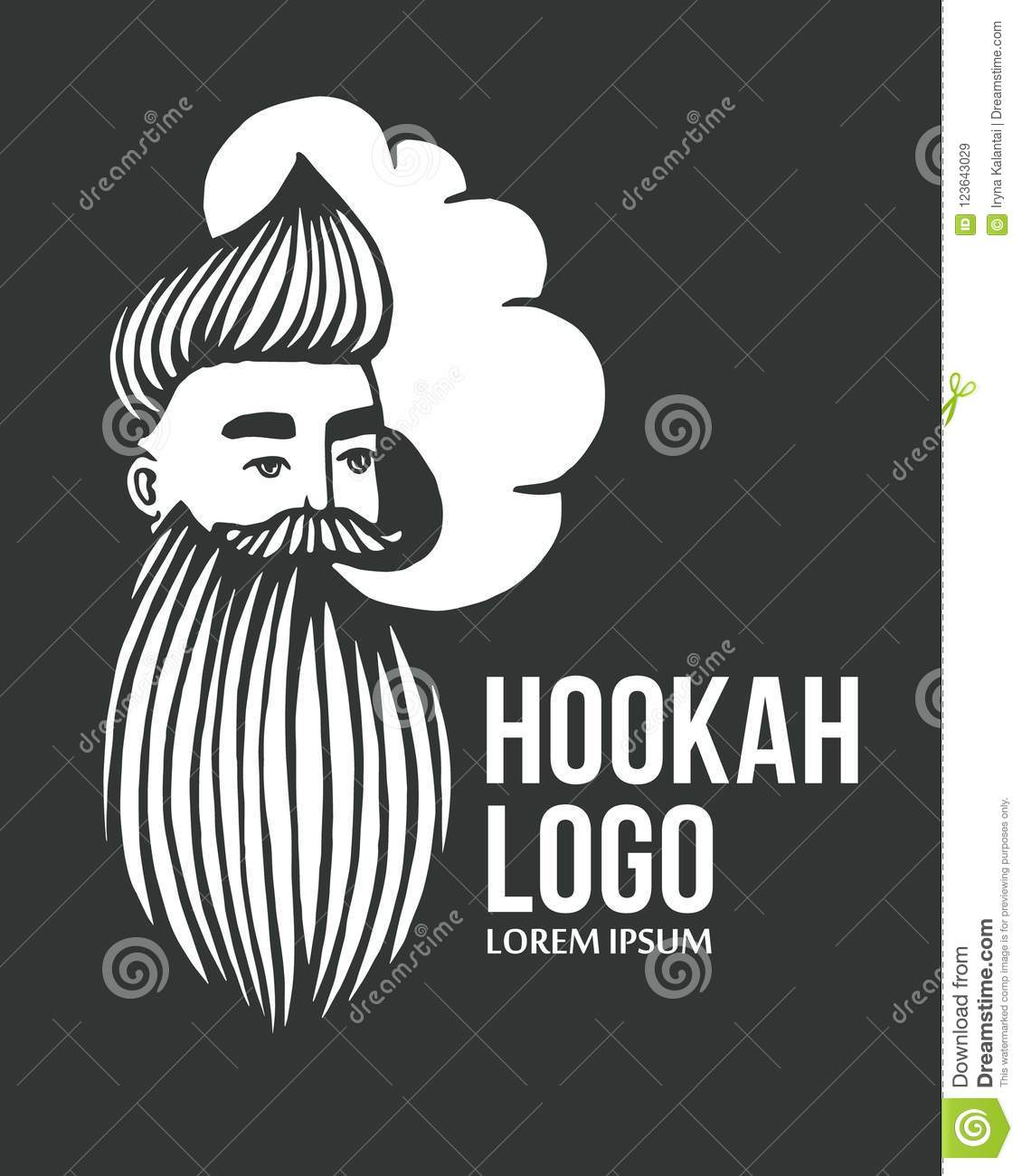 Hookah and drawn hipster logo with mustache and beard man with cloud vector hookah logo sticker logo emblem