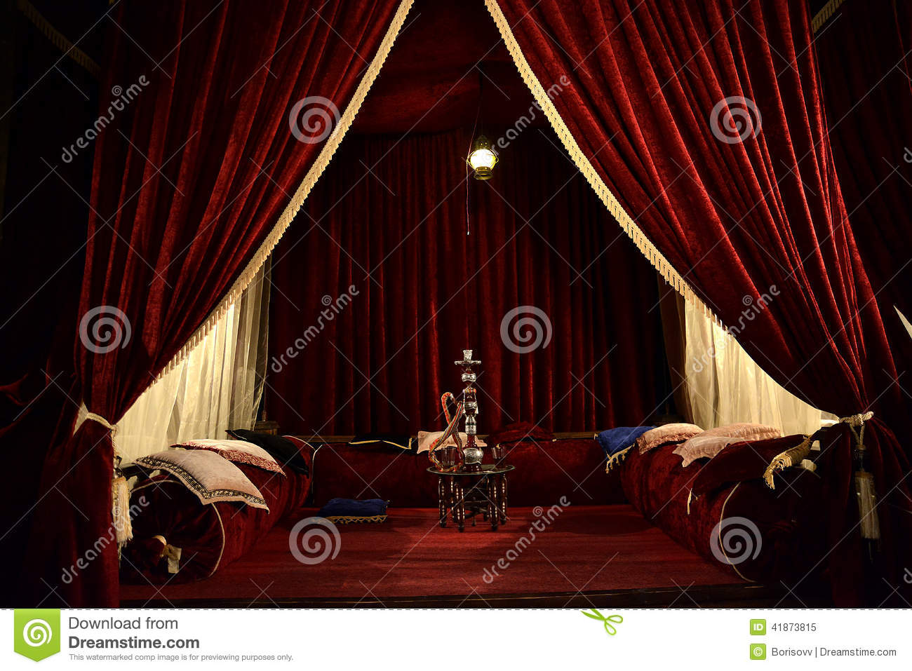 Hookah Room In Red Stock Image Image Of Curtain Enjoyment 41873815