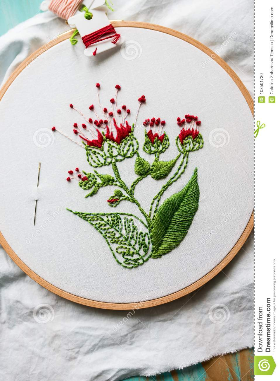 Hoop Modern Embroidery With Botanical Motifs On A Wooden Background