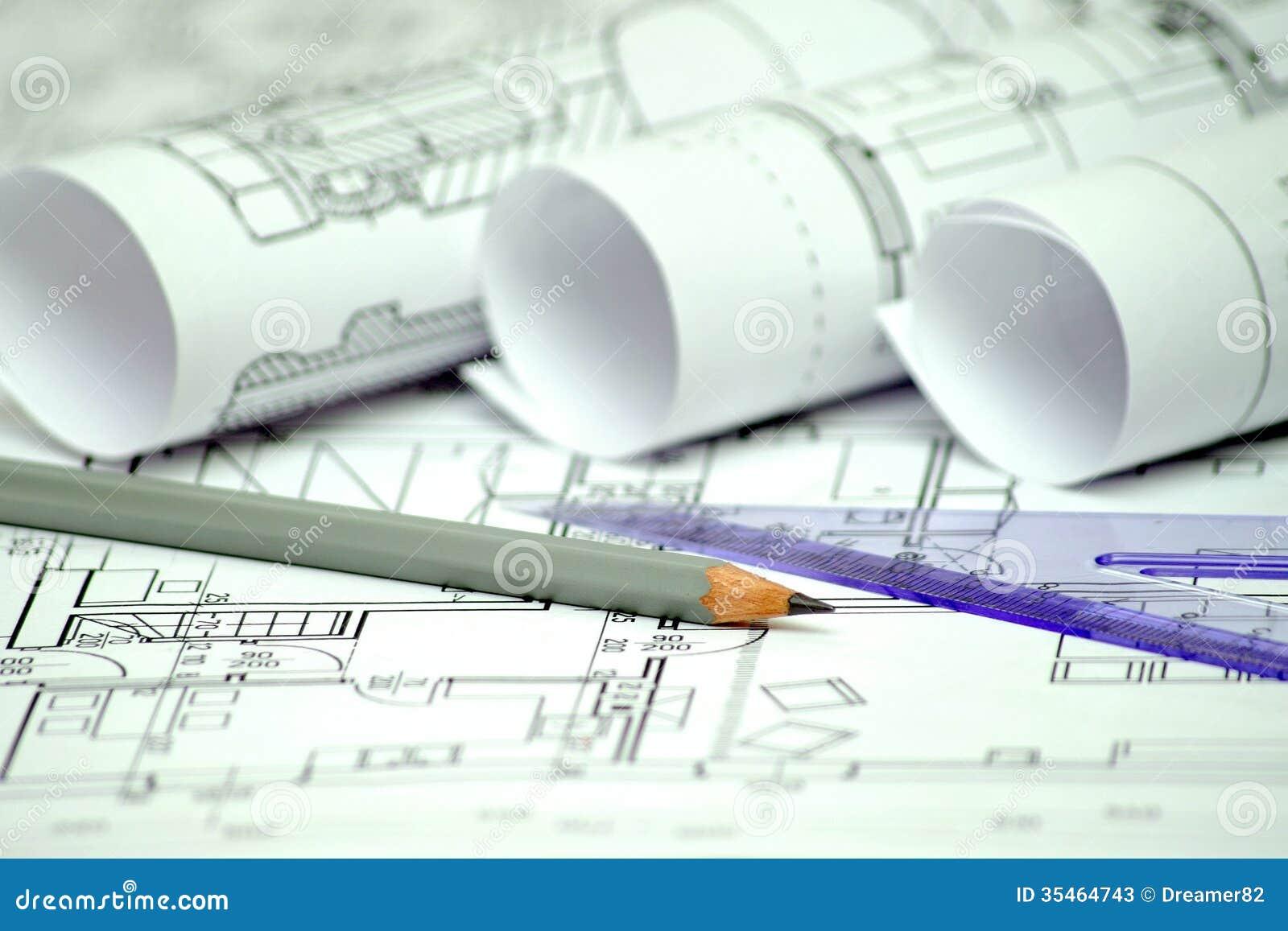 Hoop van architectuurontwerp en projectblauwdrukkentekeningen van
