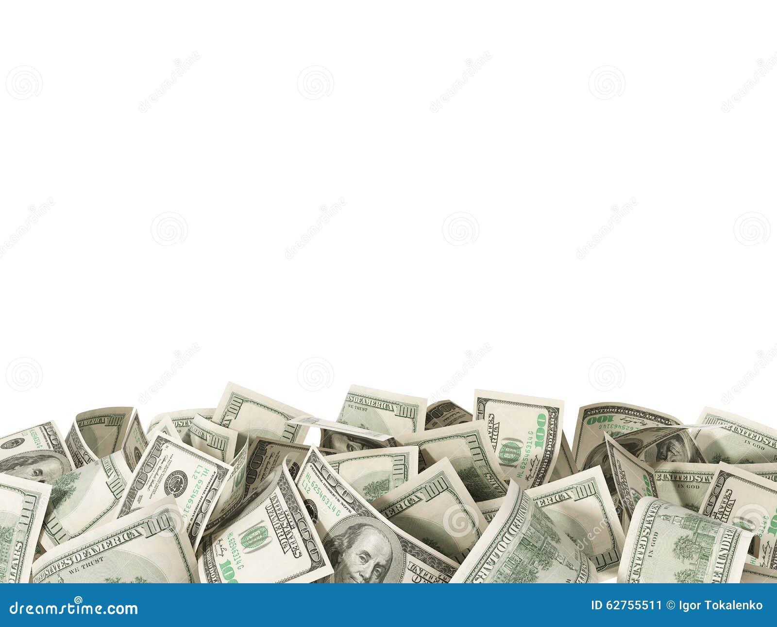 Hoop van 100 Dollarsrekeningen op witte achtergrond