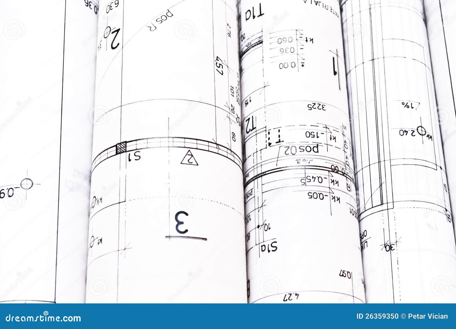 Hoop van van het architectenontwerp en project tekeningen
