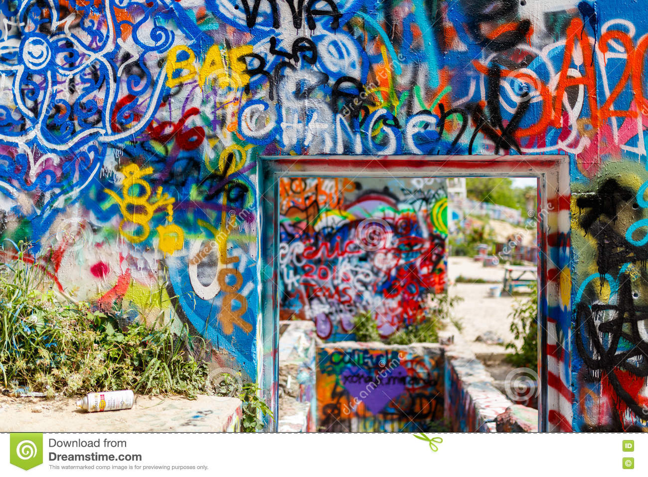 Austin texas usa april 8 2016 colorful graffiti on the walls of the popular hope outdoor gallery on baylor street near downtown austin