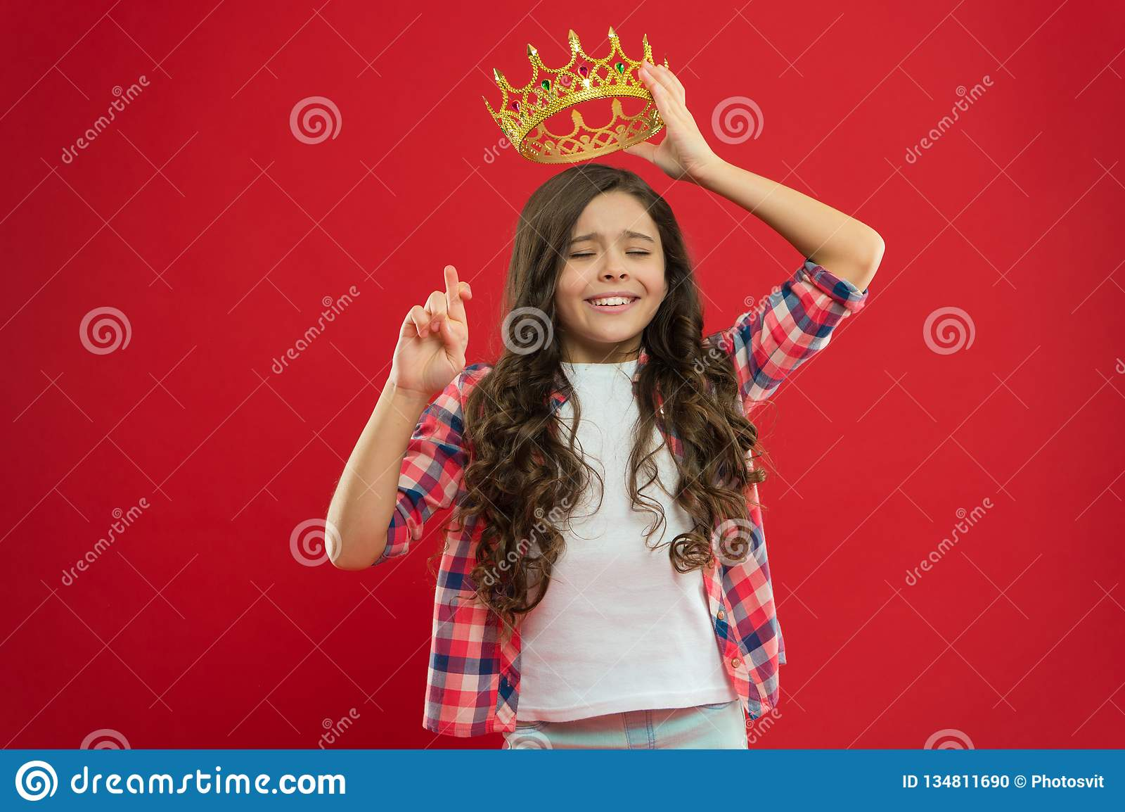 Hope for the best. Kid hold golden crown symbol of princess. Childhood concept. Every girl dreaming to become princess
