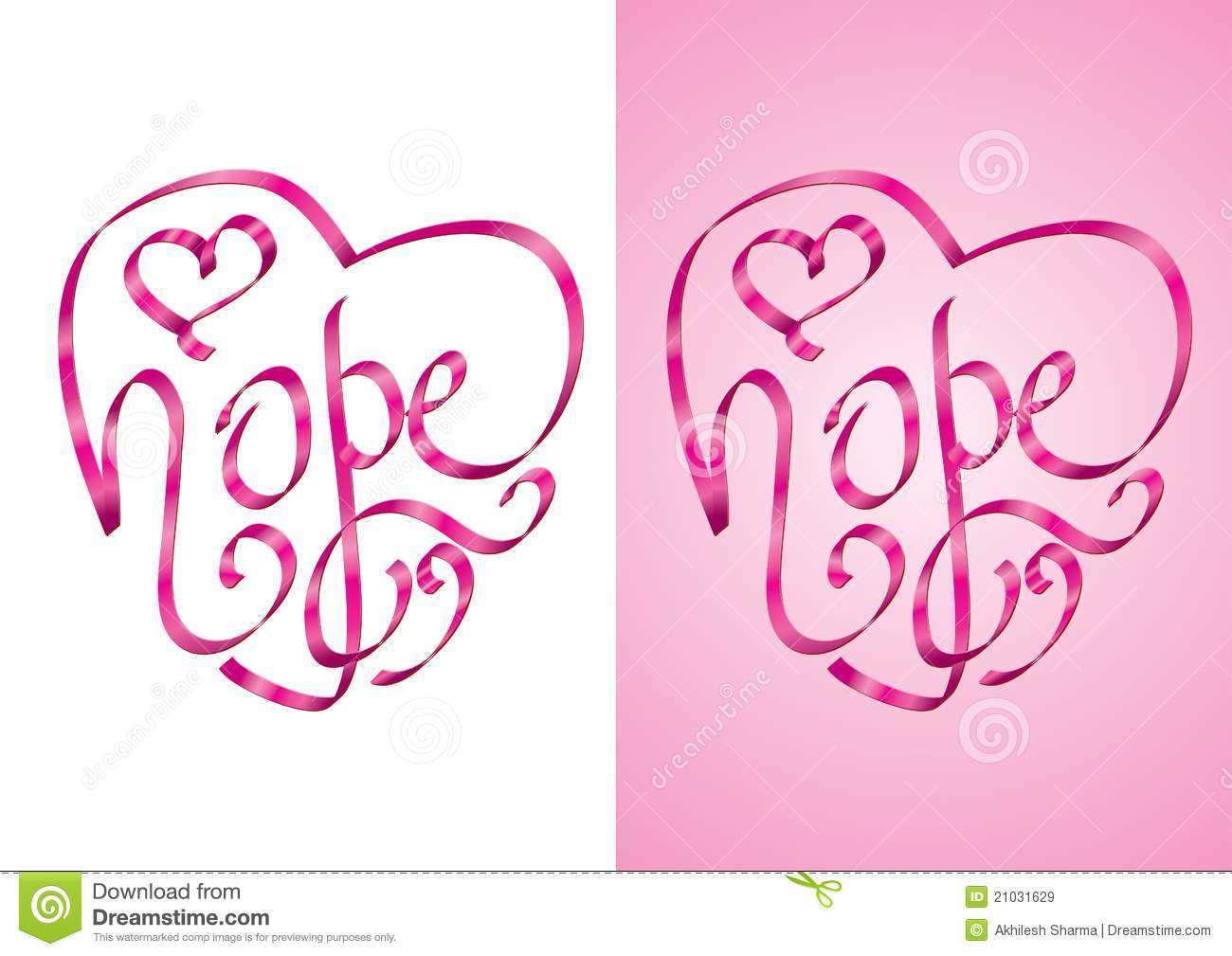Hope Heart Shape Calligraphy With Ribbon Royalty Free