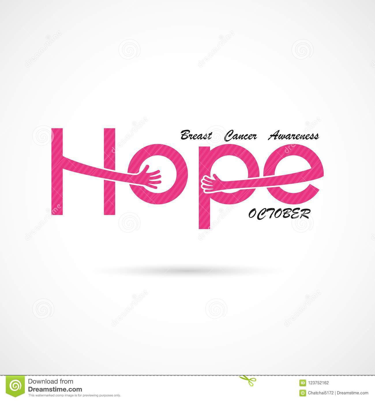 `Hope` typographical.Hope word icon.Breast Cancer October Awareness Month Campaign Background
