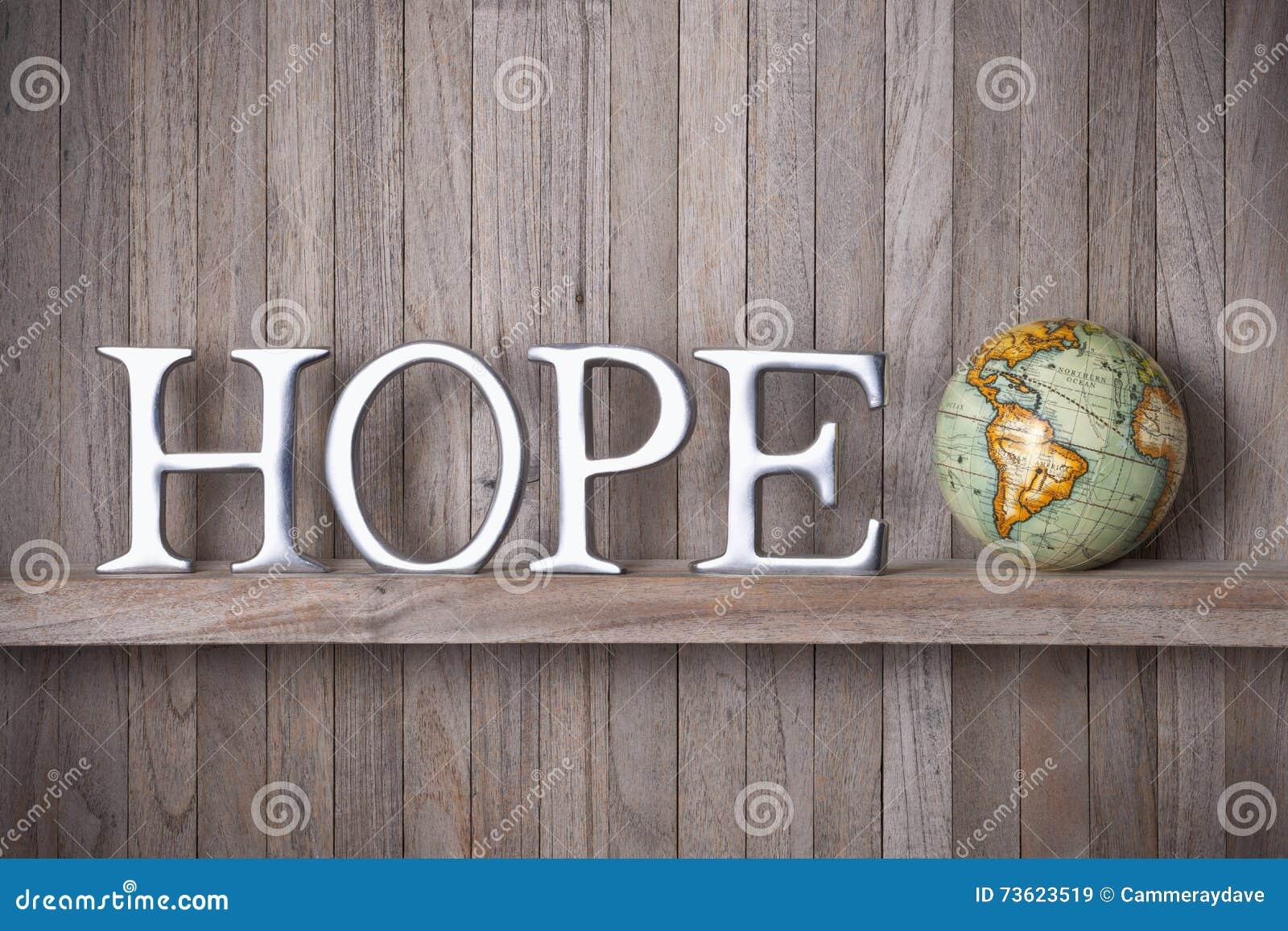 Hope World Globe Wood Background
