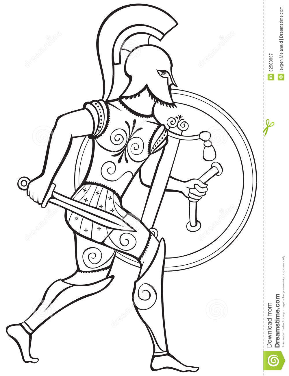 Hoplite ancient greek warrior royalty free stock for Guerriero da colorare