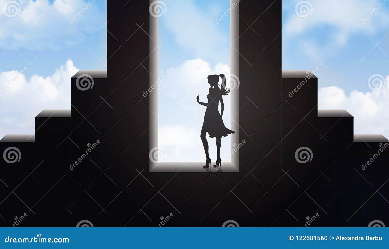 Hoppa av öden, okända, nya början, affärsföretag in i det framtida begreppet