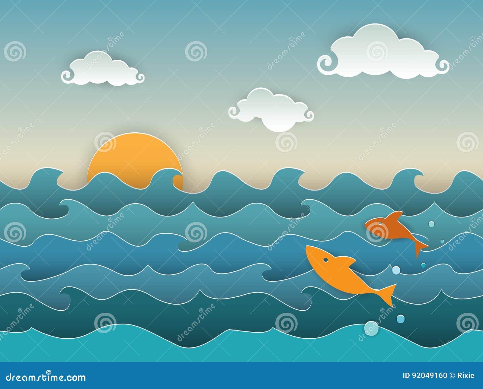 Hoppa fisken i det djupblå havet